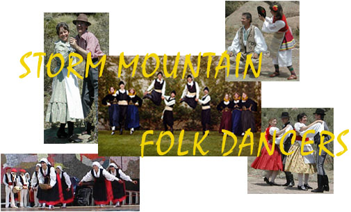 Collage of pictures of Storm Mountain Folk Dancers